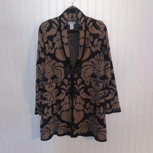 Soft Surroundings tan & navy wool blend cardigan